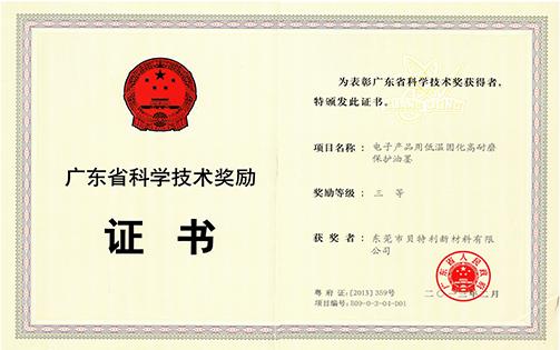 2012年省科技奖三等奖(电子产品用低温固化高耐磨保护油墨)