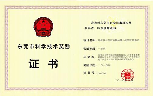 2010年市科技奖一等奖(硅橡胶与塑胶粘结的紫外光固化胶粘剂)